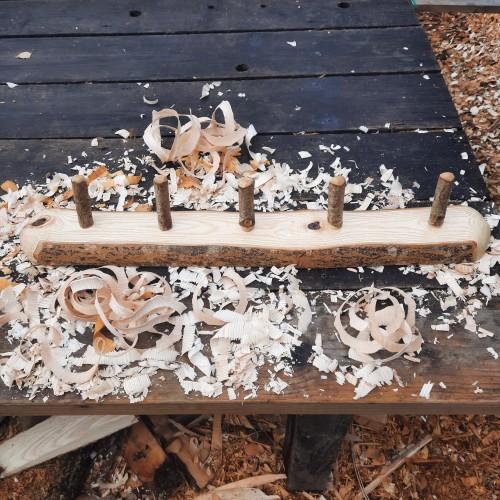 Rustic wooden coat rack 5 peg live edge 1
