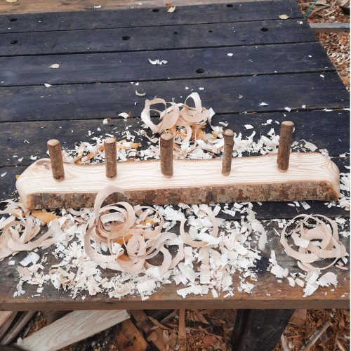Rustic wooden coat rack 5 peg live edge 3
