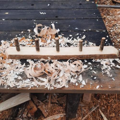 Rustic wooden coat rack 5 peg live edge 5