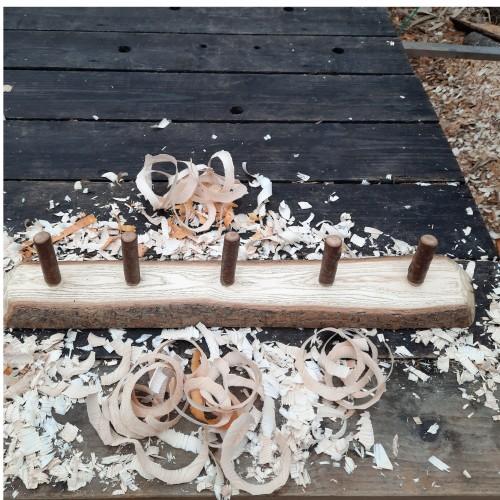 Rustic wooden coat rack 5 peg live edge 6