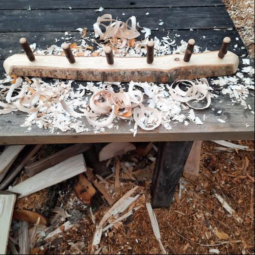 Rustic wooden coat rack 6 peg live edge 1