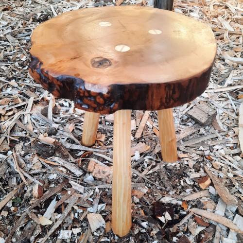 Handmade Wych Elm Burr Side table Alder Legs