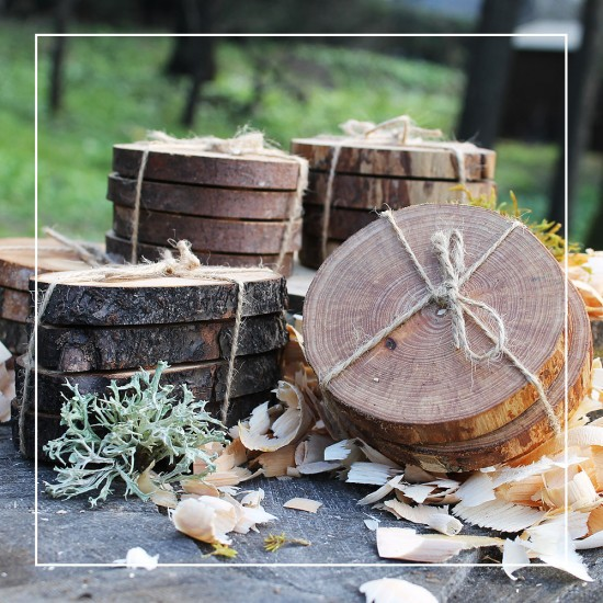 Set of 4 Natural Wooden Coasters