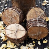 *SIGNATURE RANGE* Set of 4 Spalted Grain Natural Wooden Coasters