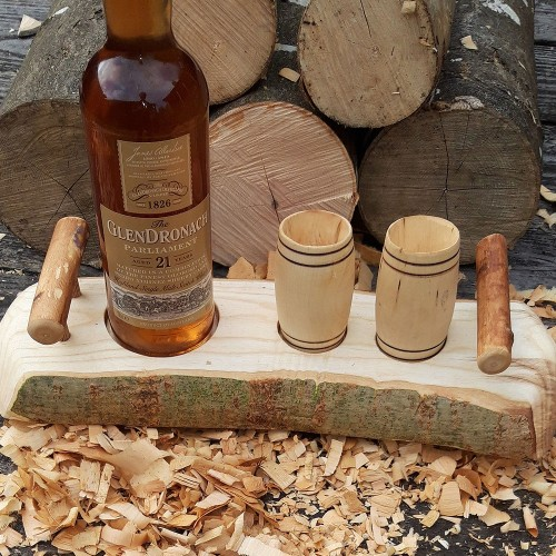 Artisan Natural Edge Ash Stand with Ash Handles & 2 Sycamore Barrel Whisky Tumblers