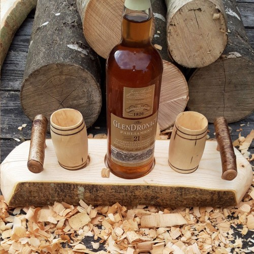 Artisan Natural Edge Ash Stand with 2 Sycamore Barrel Whisky Tumblers