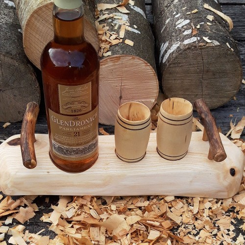 Artisan Revealed Grain Knotty Ash Stand with Ash Handles & 2 Sycamore Barrel Whisky Tumblers