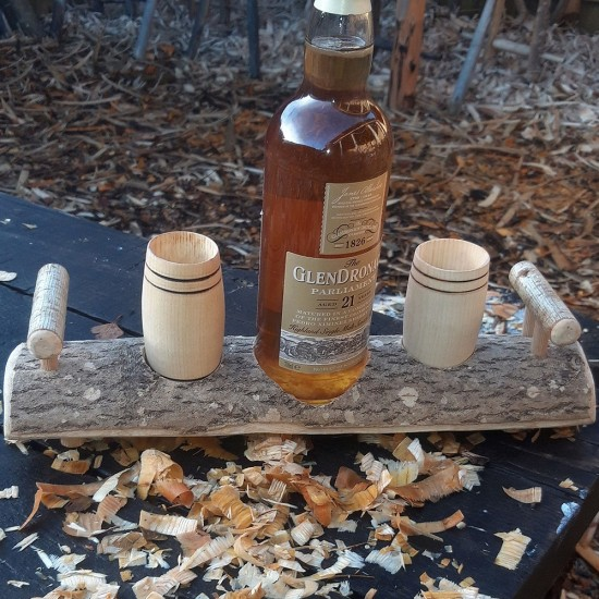 Artisan Natural Ash Stand with 2 Sycamore Barrel Whisky Tumblers