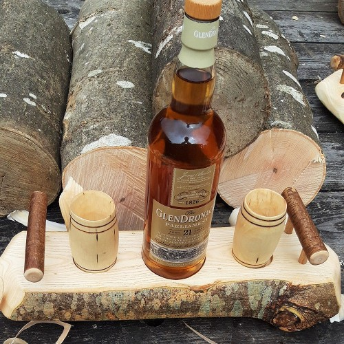 Artisan Natural Edge Branch Ash Stand with 2 Sycamore Barrel Whisky Tumblers
