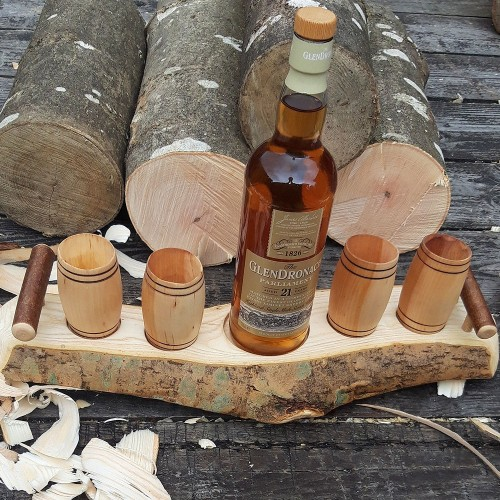 Artisan Natural Edge Wave Ash Stand with 4 Willow Barrel Whisky Tumblers