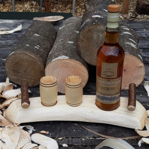 Artisan Revealed Grain Curve Ash Stand with 2 Sycamore Barrel Whisky Tumblers