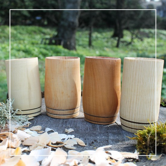 Handcrafted 2 Hoop Whisky Tumblers (Set of 4) - Mixed Wood Species
