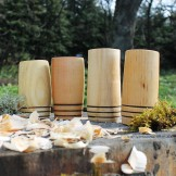 Handcrafted 3 Hoop Whisky Tumblers (Set of 4) - Mixed Wood Species