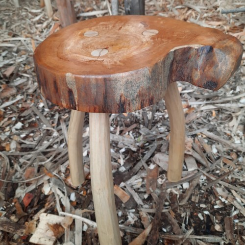 Handcrafted spalted Alder Stool with Ash Legs