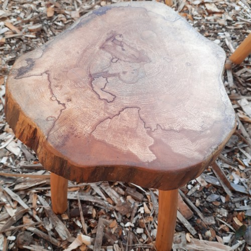 Handmade spalted Alder Side table with Wild Cherry Legs